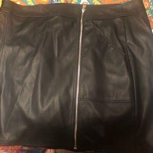 Leather Zip Up Mini Skirt